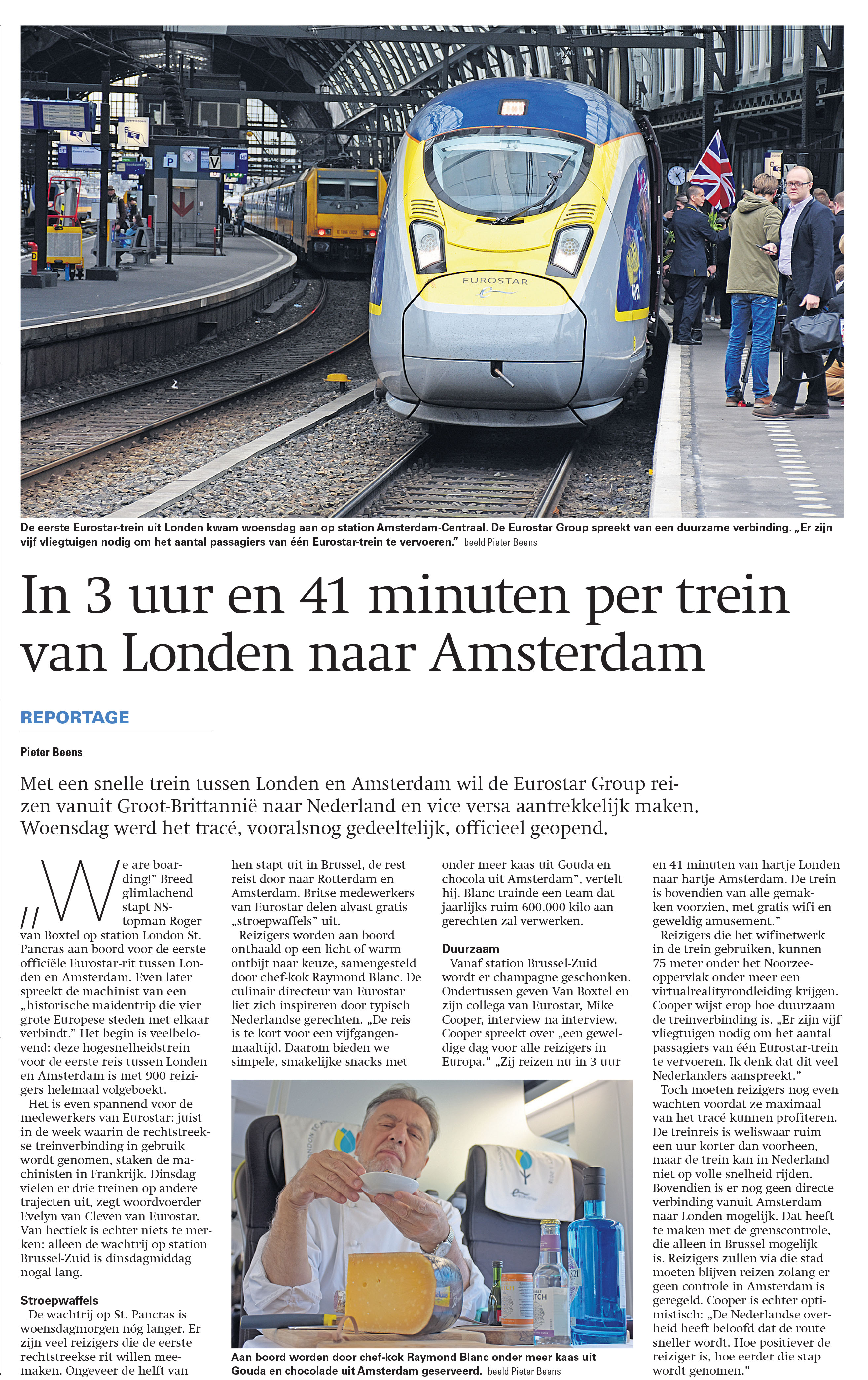 Report On The Eurostar Connection Between Amsterdam And London For