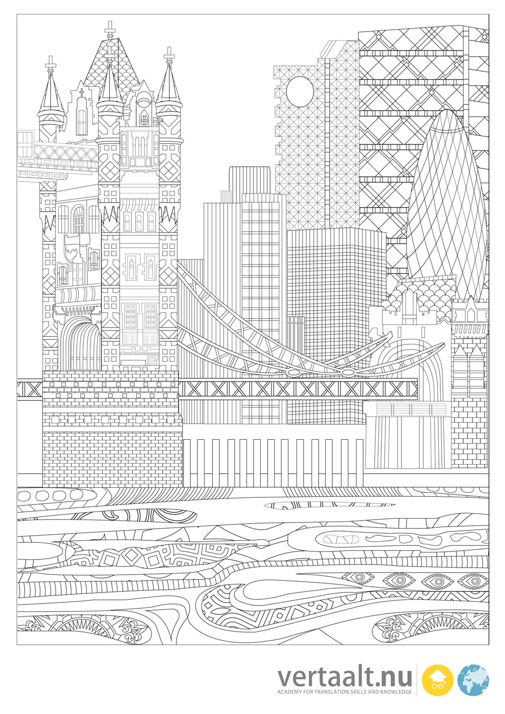 Five Free Translation Themed Adult Coloring Pages
