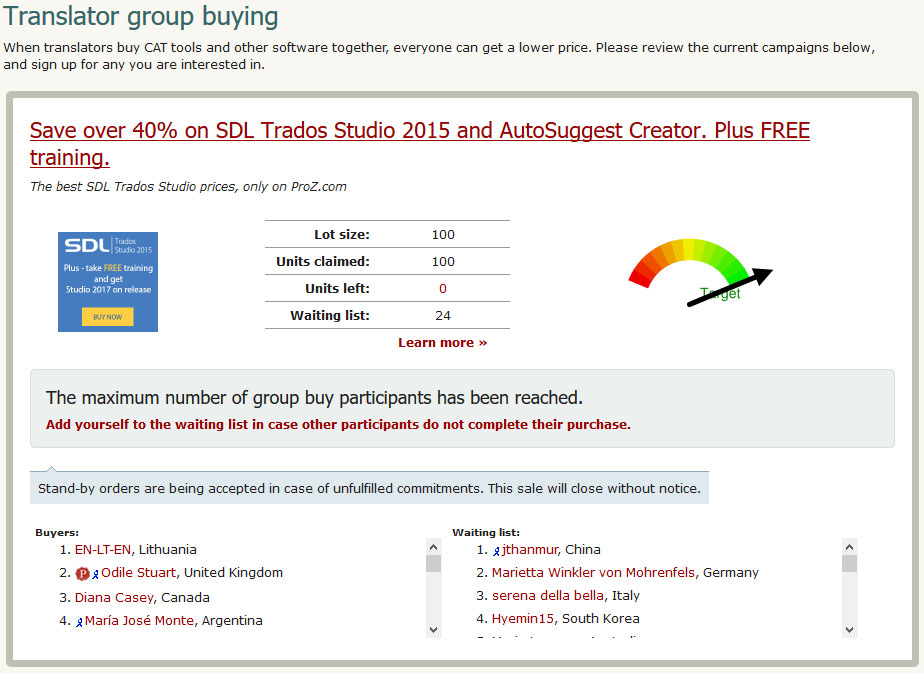 Translator group buying campaign at ProZ.com