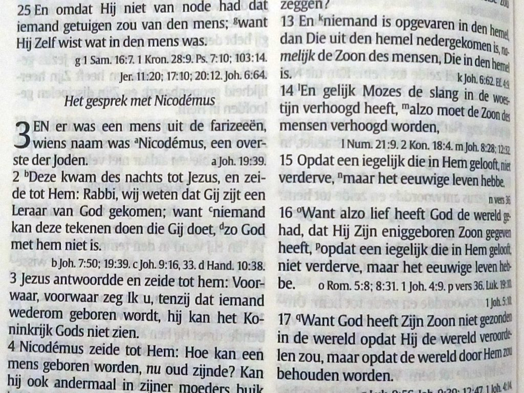 Close up of John 3 in the Dutch Statenvertaling