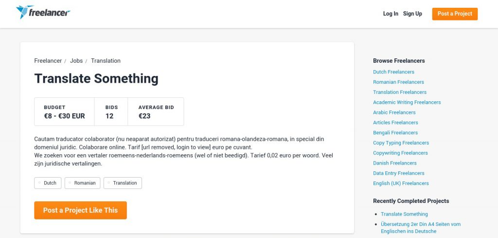 Example of translation jobs at freelancer.com