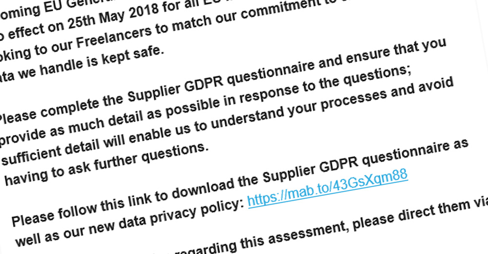 GDRP questionaire for language vendors
