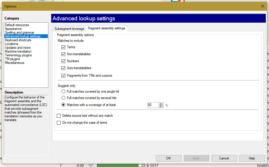 Propagation settings for machine translation in MemoQ