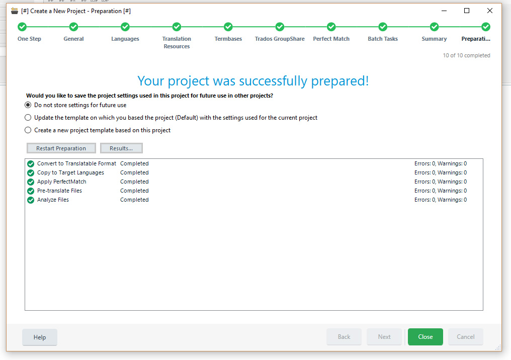 Confirmation of the Trados Studio 2019 project wizard