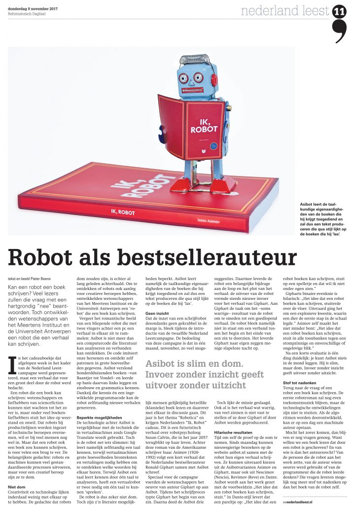 """Original article """"Een robot as bestsellerauteur"""" in Reformatorisch Dagblad"""