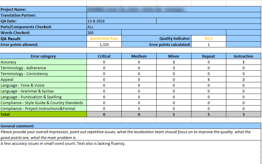 Details of a quality assessment form in MS Excel
