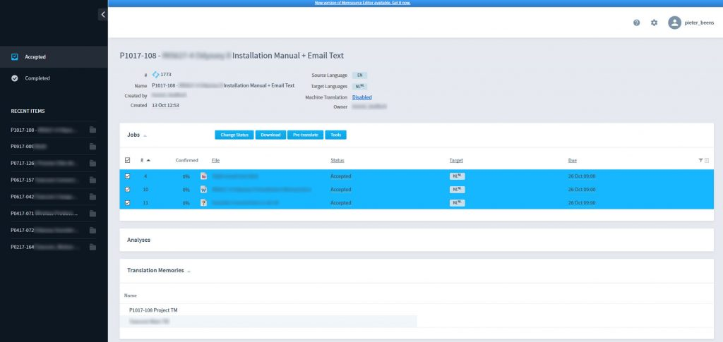 Memsource review: the Memsource Cloud dashboard