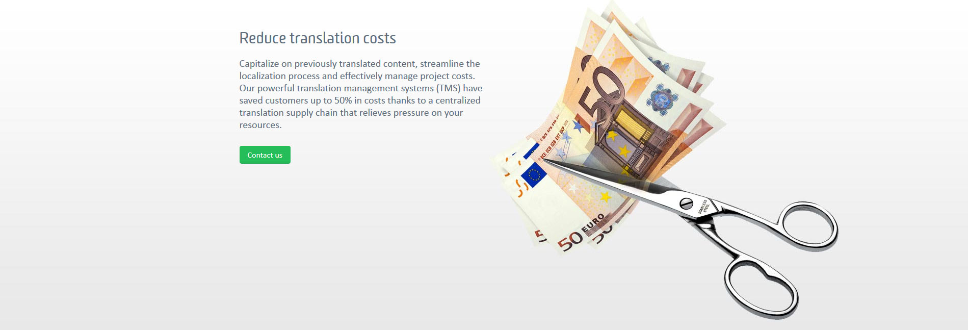 Part of the website of SDL with a description to reduce translation costs
