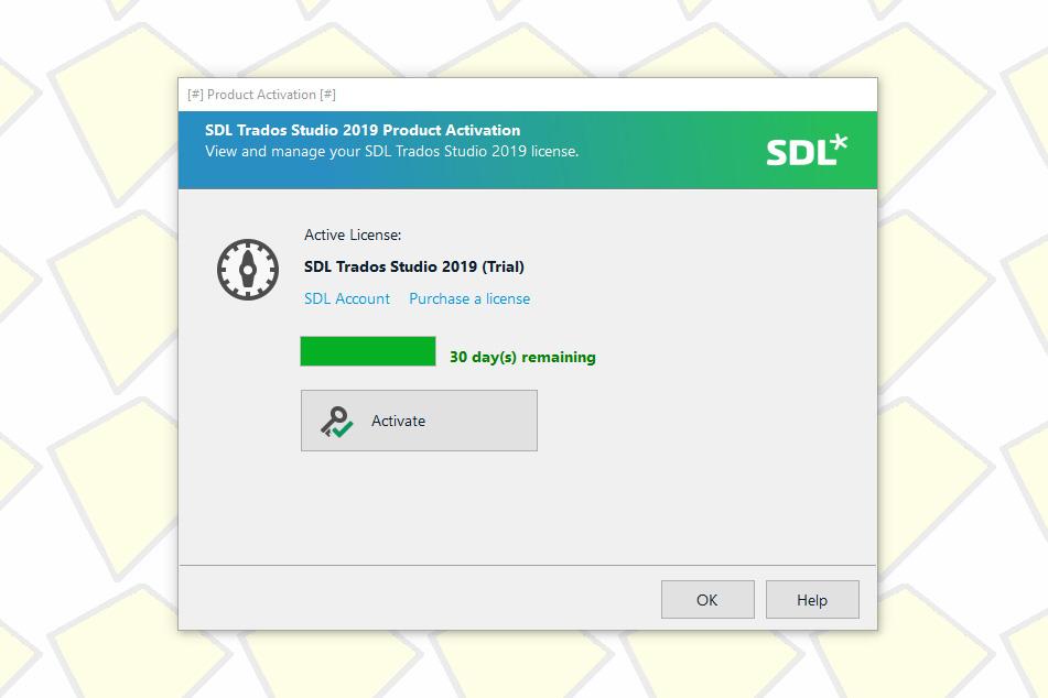 Activation screen of the beta version of Trados Studio 2019