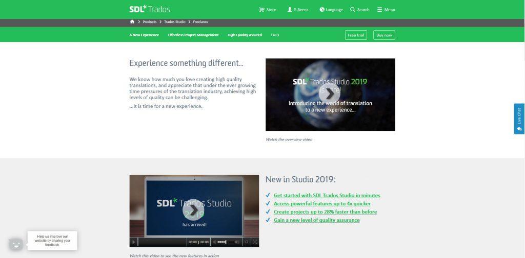 Trados Studio 2019 Review: landing page of Trados Studio 2019