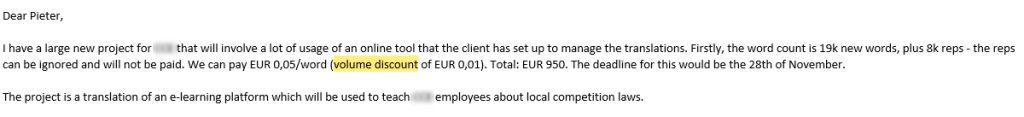 A client asking for a volume discount on translations