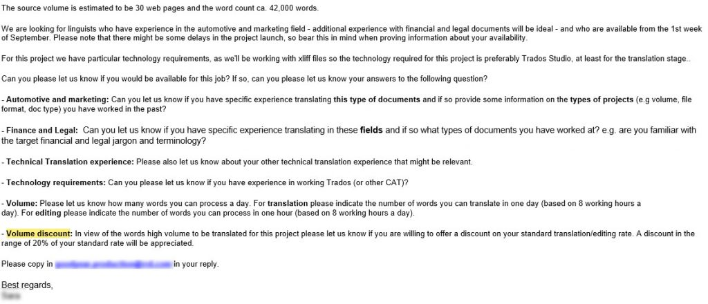 A client asking for a volume discount on translations [2]